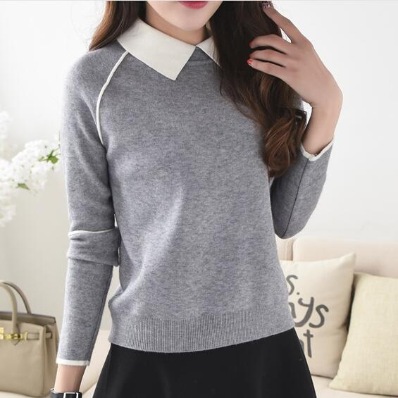 Women Sweaters Spring Winter Cute Pullover Sweaters Peter pan ...