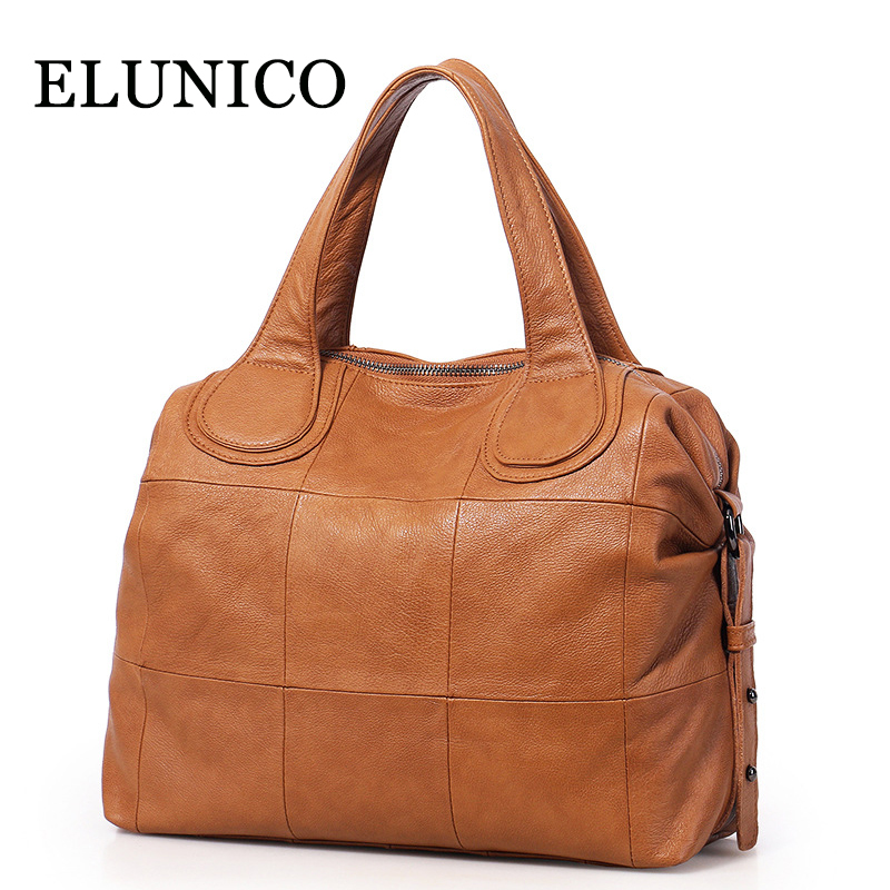 ELUNICO 2018 Summer Women's Genuine Leather Bags Handbags Women Famous Brands Tote Messenger Shoulder Bag Ladies Crossbody Bags chispaulo women genuine leather handbags cowhide patent famous brands designer handbags high quality tote bag bolsa tassel c165