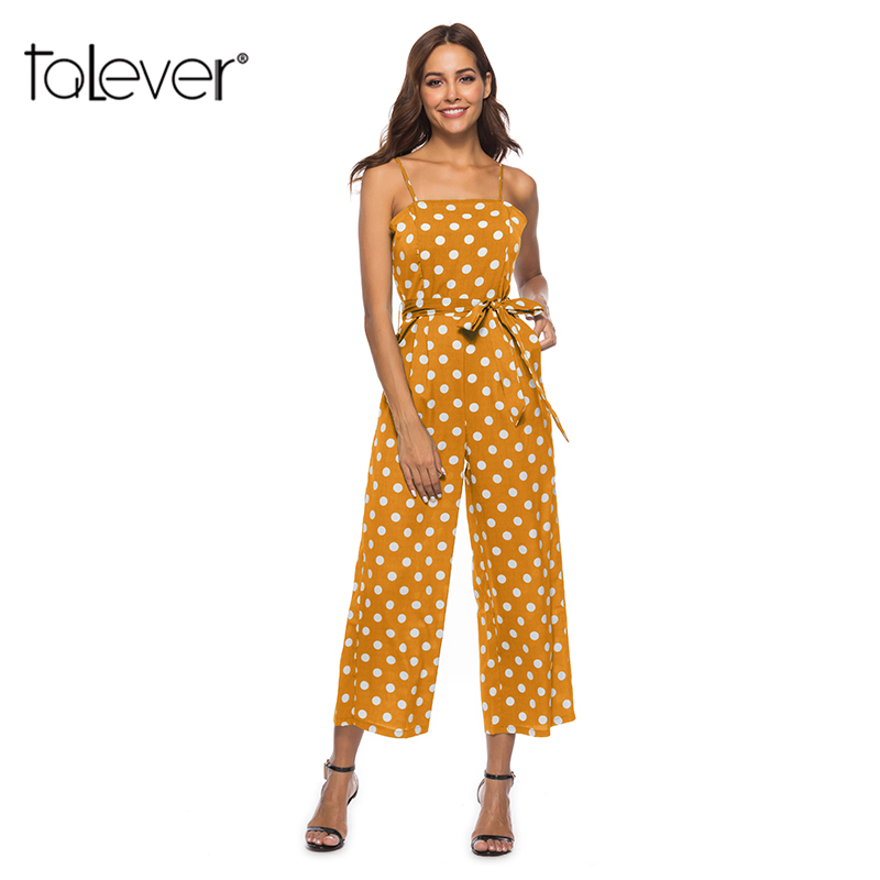 2018 Fashion Womans dot Office Lady Rompers Female Casual Elegant Ladies Lace Up Jumpsuits Spring Summer Women Jumpsuit Talever