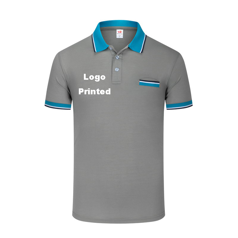 Brand clothing New Men Polo Shirt Men Custom Logo Printed with chest pocket male polo shirt Short Sleeve breathable polo shirt white with wine red line button design short sleeve men s polo shirt
