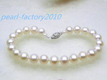 Gorgeous 7.5-8mm + round white akoya pearl bracelet 7.5″ 14k solid gold 42%