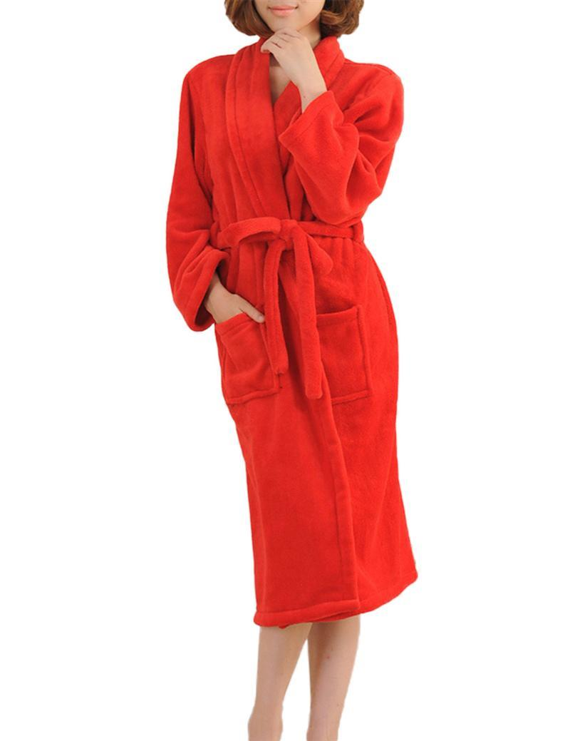 Winter Warm Long Sleeve Flannel Robe Female Sleepwear Lounges Homewear  Pyjamas Bathrobes Women Robe Autumn-in Robes from Women s Clothing    Accessories 55c4e6720