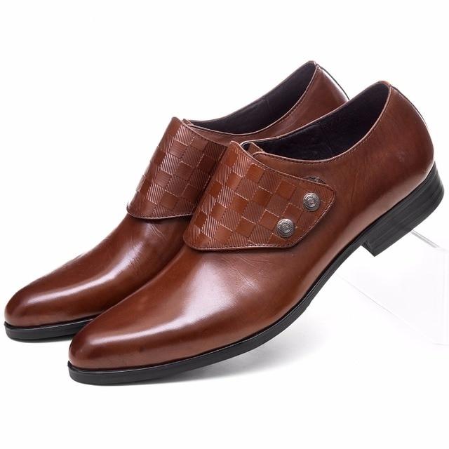 d8982f6e9c Moda marrón cuero vestido negro zapatos de hombre Zapatos casuales de  negocios de cuero genuino