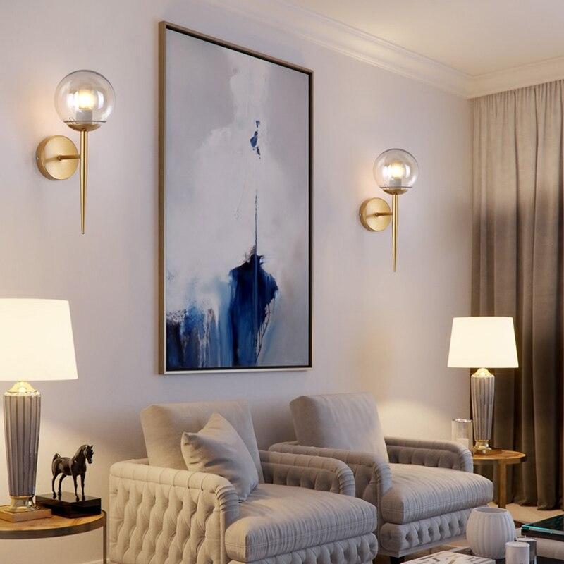 Nordique Moderne Mur Lampes Appliques Noir/Or Décoratif Nuit Lumière pour Pathway Escalier Chambre Lampe De Chevet E27