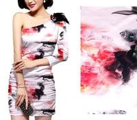 Thickening Elastic Inkjet Printing Silk Fabric felt satin silk fabric patchwork stoff Printing fabric silk chiffon stoff weiss