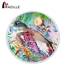 Miracille Sea Turtle Round Beach Towel with Tassel Marine Life Printed Microfiber Blanket Cloth Yoga Mats Diameter 150cm