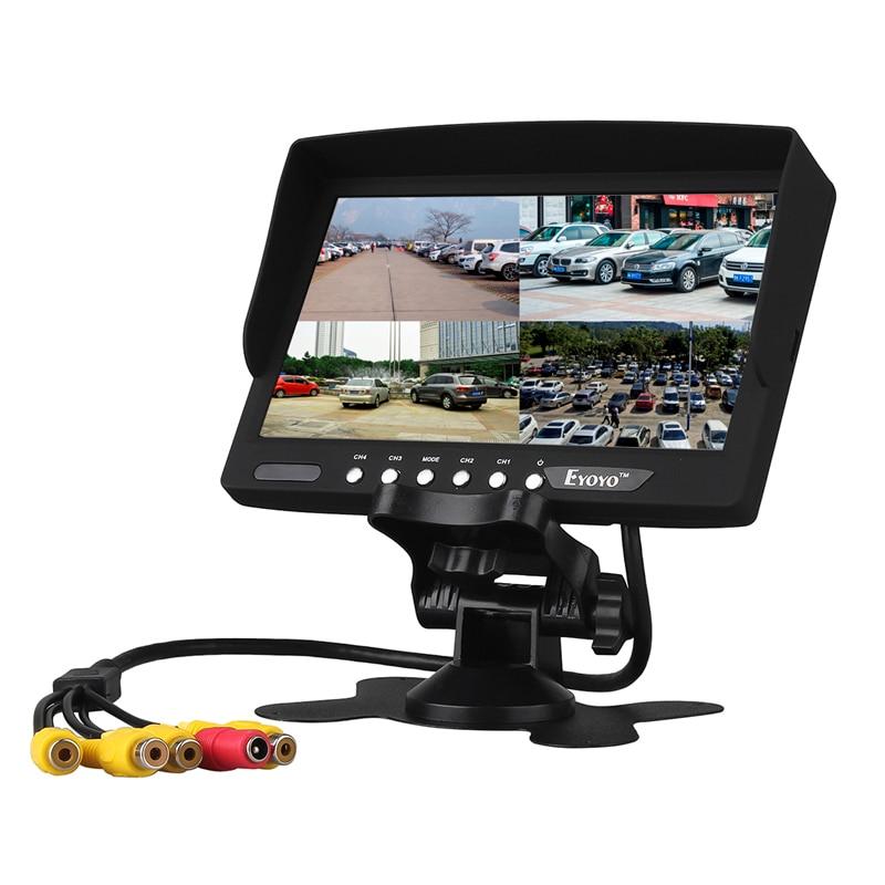 Eyoyo 7 Inch HD 4 Split Quad Video Display 4CH AV Input TFT LCD Car Rear View Monitor Free shipping EYOYO