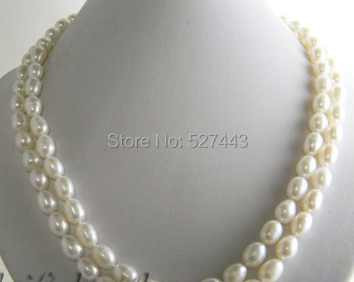 2strands 18/'/'10mm rice pink rice freshwater pearl necklace