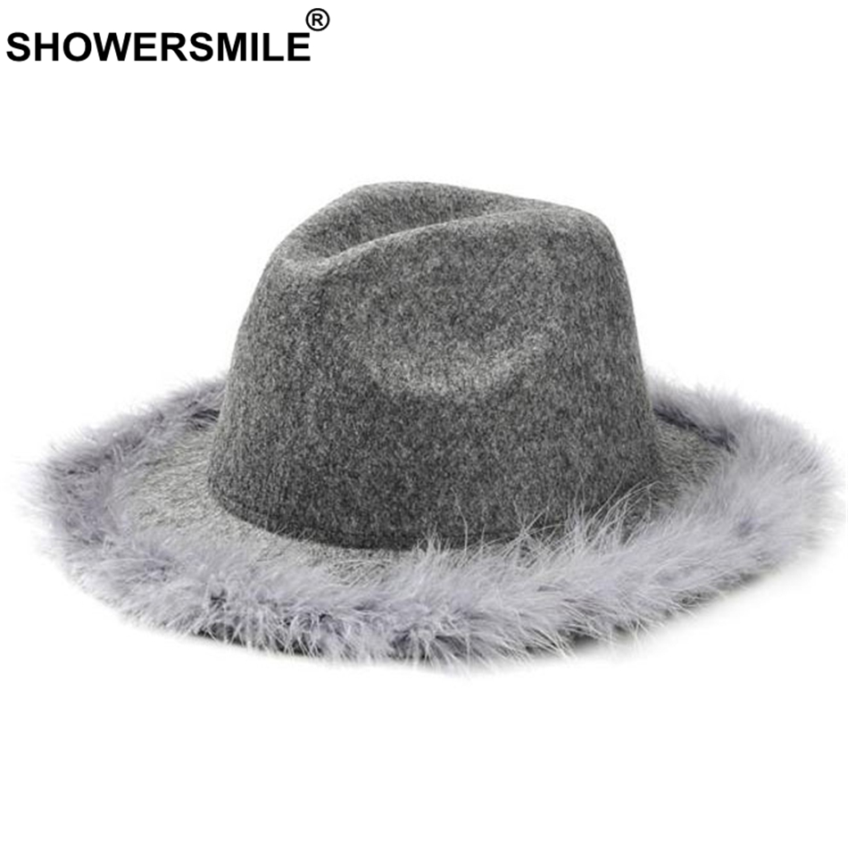 SHOWERSMILE Grey Women Fedora Hat With Feather Vintage Tweed Jazz Hat Female Wool Autumn Winter Caps Fashion Elegant Bucket Hat