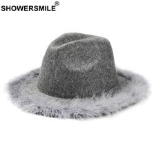 SHOWERSMILE Grey Women Fedora Hat With Feather Vintage Tweed Jazz Hat Female Wool Autumn Winter Caps Fashion Elegant Bucket Hat wool hat w mask yellow grey