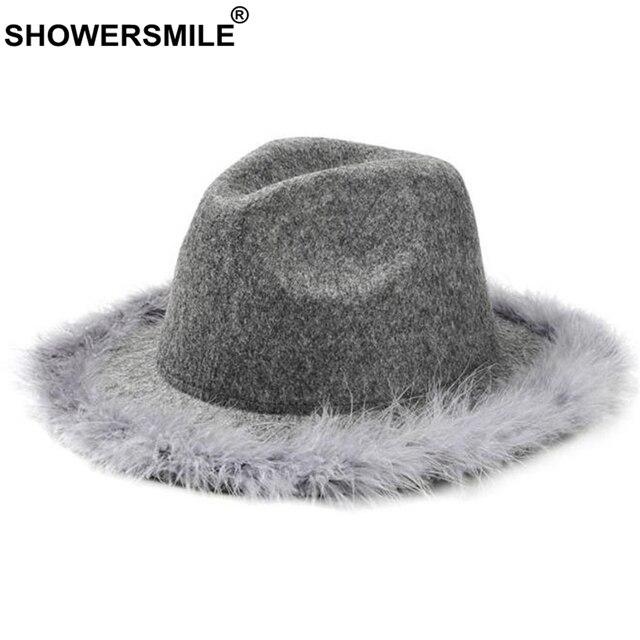 f5e74c77 SHOWERSMILE Grey Women Fedora Hat With Feather Vintage Tweed Jazz Hat  Female Wool Autumn Winter Caps Fashion Elegant Bucket Hat