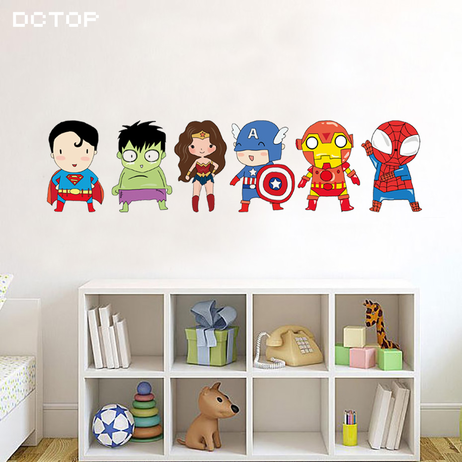 Us 4 39 45 offcartoon funny superhero wall stickers for kids room children boys nursery pvc wall decals poster art mural sticker home decor in wall