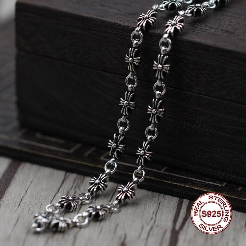 Argent Sterling collier personnalité simple sauvage paragraphe croix collier classique couple style chandail chaîne envoyer un cadeau à l'amour