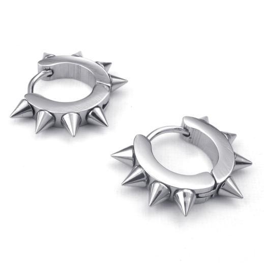20*3mm Fashion punk style cool jewelry eardrop stainless steel silver/black/golden sharp corner men stud earrings 0