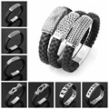 High Quality Genuine Black Leather Bracelet Silver Tone Magnetic Clasps Stainless Steel Biker Mens Fashion Cuff Xmax Jewelry