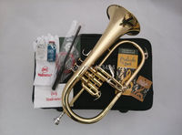 American Bach flugelhorn Gold Lacquer B flat Bb professional trumpet Top musical instruments in Brass trompete trumpeter bugle