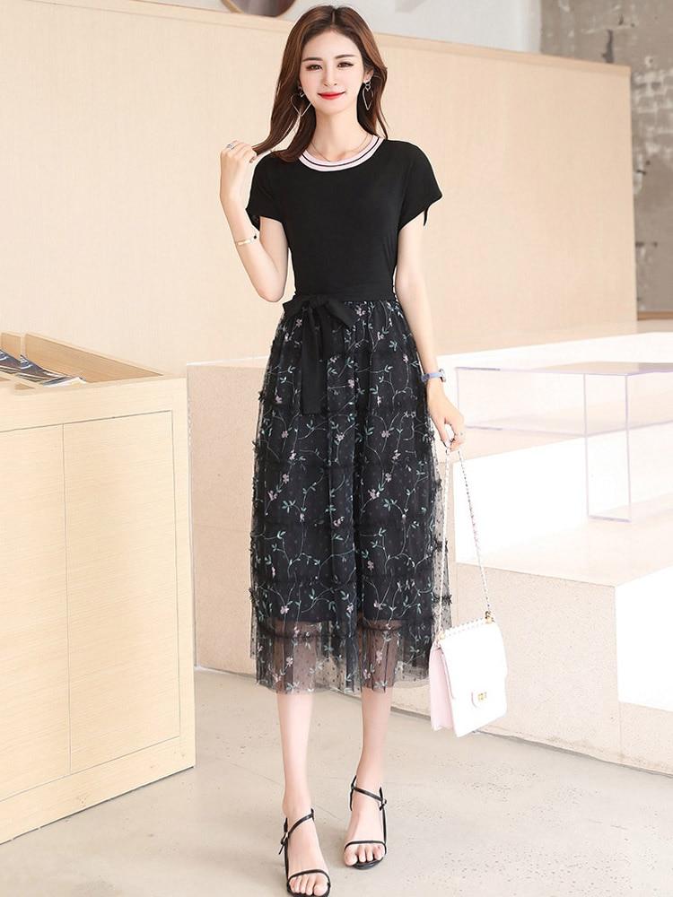 2019 nouveau Designer femmes robe 5XL grande taille noir élégant à manches courtes o-cou maille grande balançoire robe femme tendance été L275