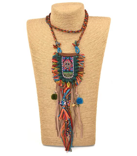 Pom poms Decorated Handmade Boho Pendant Necklace