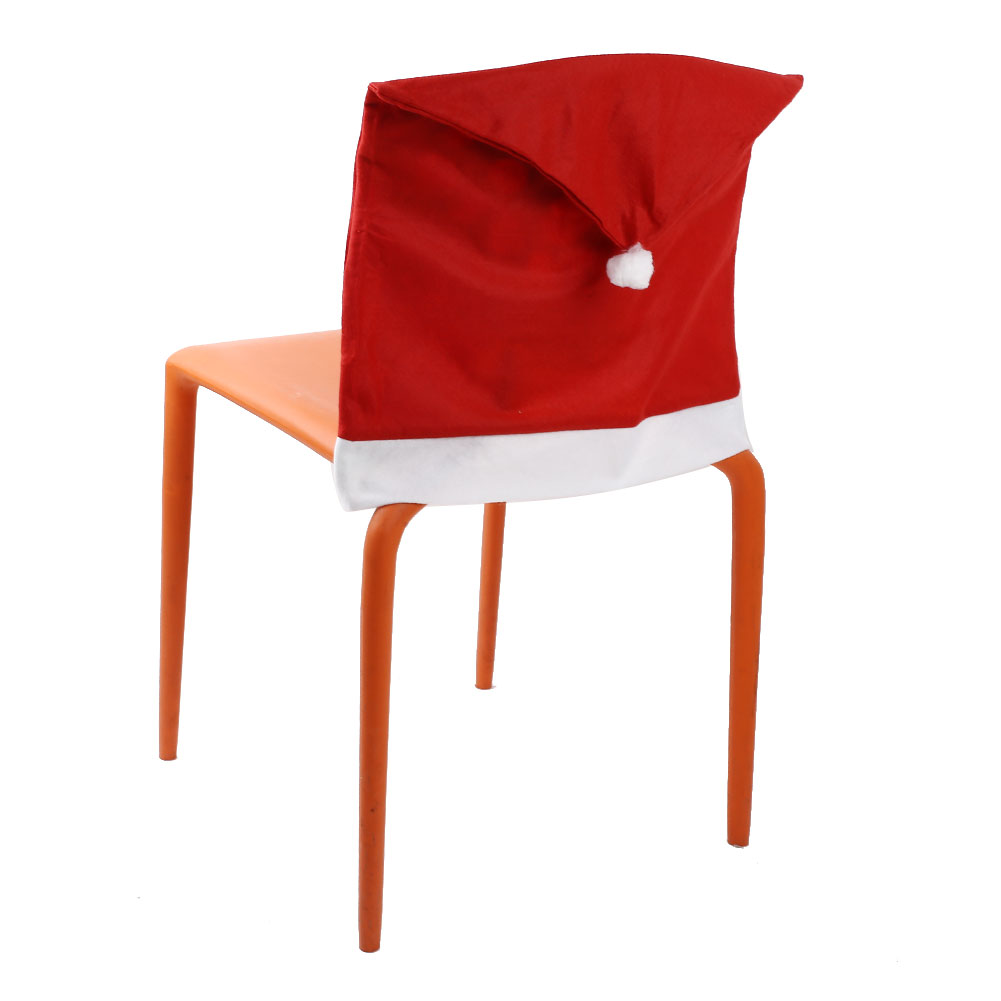 Christmas Chair Back Seat Cover Santa Pattern Dining Decor Restaurant Supplies