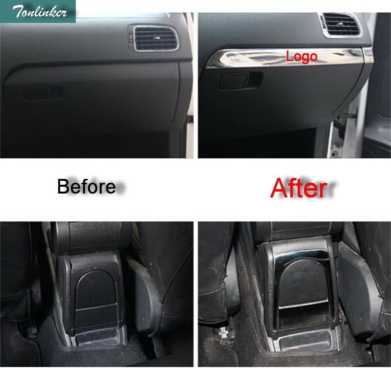 Tonlinker коробка для хранения перчаток чехол наклейка для Volkswagen POLO 2011-18 автомобильный Стайлинг 1-2 шт. наклейка из нержавеющей стали