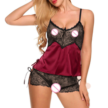 цена Yufeila New V Neck Sling Hollow Out Lace Sexy Lingerie Sleepwear Erotic Intimate Ladies Sexy Lingerie Nightgown Sex Costumes