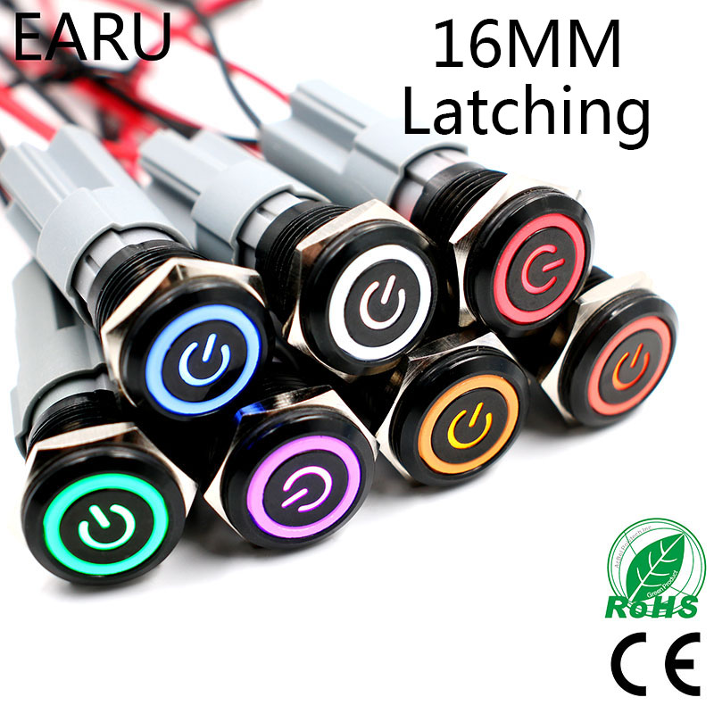5V 12V 24V 110V 220V LED Locking Latching 16mm Waterproof Car Atuo Power Dash Metal Push Button Switch 1NO 1NC Stainless Steel 1 x 16mm od led ring illuminated latching push button switch 2no 2nc