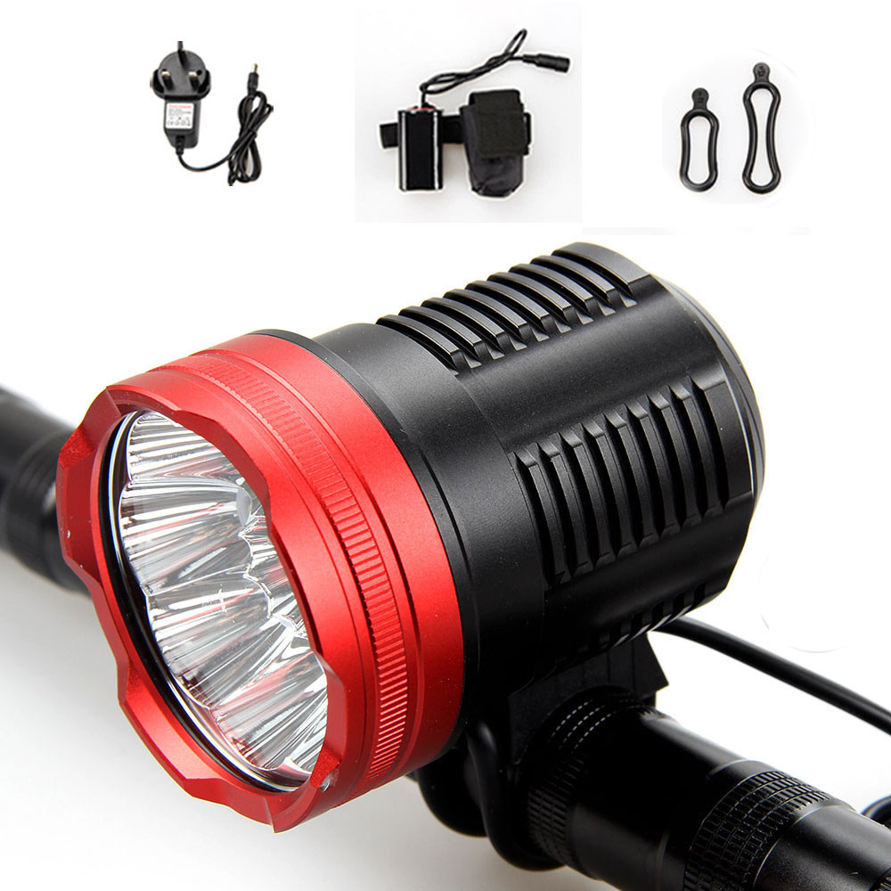 Waterproof 15000Lumen 9x XM-L2 LED Front Cycling Bicycle light Bike lamp Torch+12000mAh Battery+AC Charger 15000 lumen 9x cree xm t6 led bicycle light bike headlamp flashlight for cycling fishing 8 4v 18650 battery pack charger