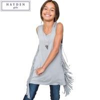 HAYDEN Kinder Mädchen Tank Tops Teenager Kinder Einfarbig Sleeveless Lange Quaste T Top Jugendliche Mode Sommer Kleidung Größe 7-14Y