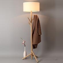 Nordic simple vertical lamp modern solid wood fabric led bedroom living room lighting three-legged floor table