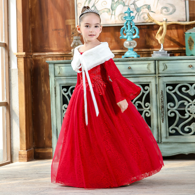 Girls 3-12Y Winter Shoulderless Ankle Length Long Flare Sleeve Dress Fashion Lace Flower Ball Gown Costume Princess Girl DressesGirls 3-12Y Winter Shoulderless Ankle Length Long Flare Sleeve Dress Fashion Lace Flower Ball Gown Costume Princess Girl Dresses