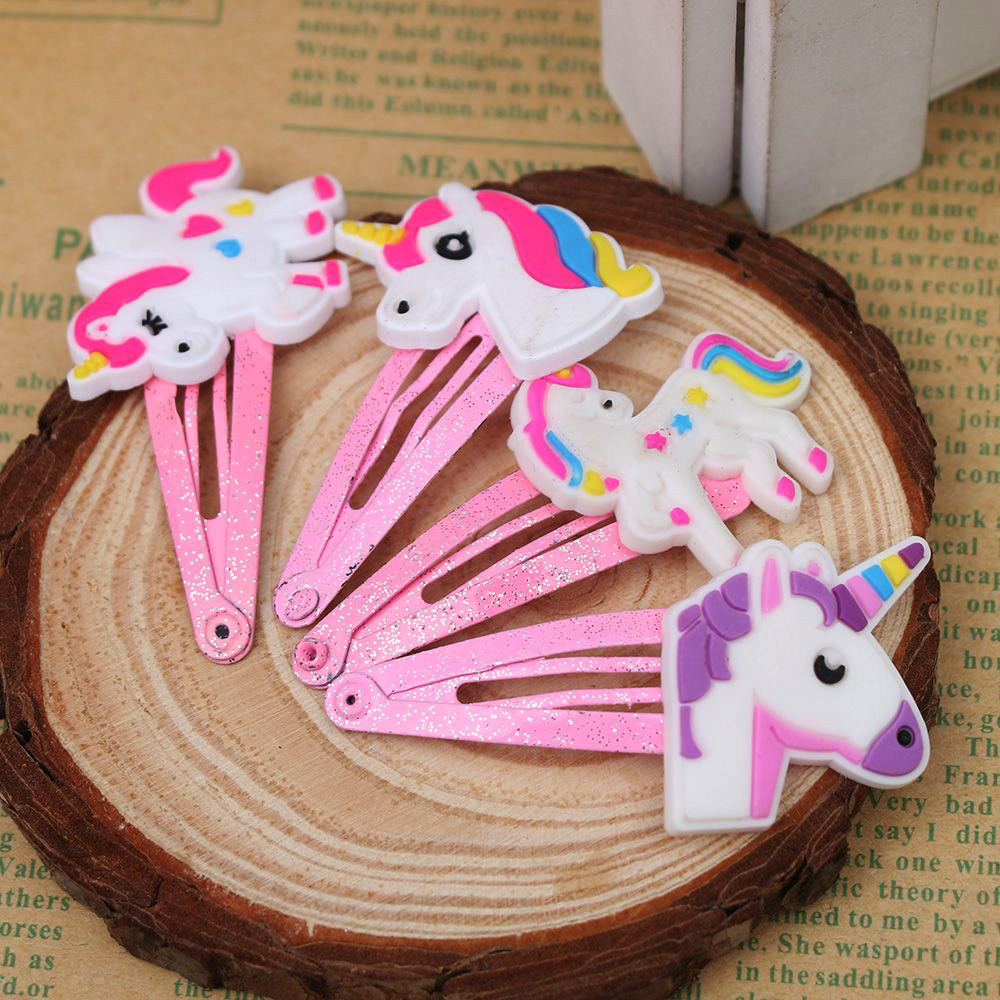 1pair=2pcs Cute Cartoon Unicorn Children Novelty Hairpin   Headwear   Baby Tiara Kids Hairgrips Hair Accessories Free Shipping