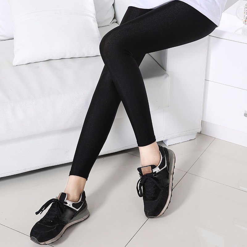 S-3XL Size Women Shiny Black Legging Autumn Ladies Push Up Slim Leggings High Waist Stretchy Soft Large Size Women Legging Y077 5