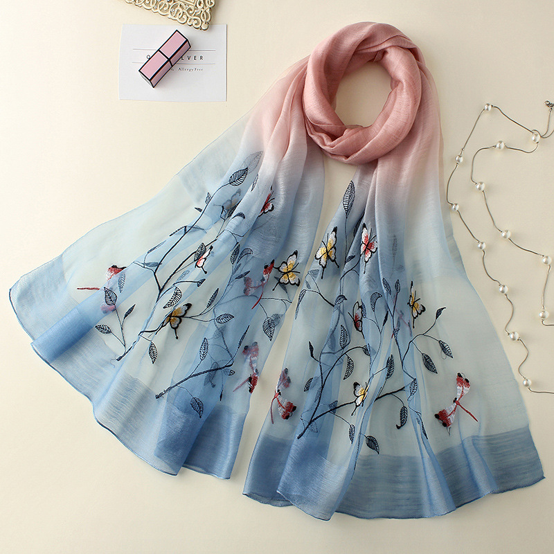 ZSYM19080 New Fashion Silk Wool Scarf Spring and Autumn Winter Scarves Embroidered Silk Shawl