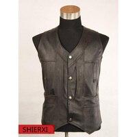 New Leather Vests Genuine leather sheepskin Man Slim Casual Vest outdoors Sleeveless jacket Men Tops