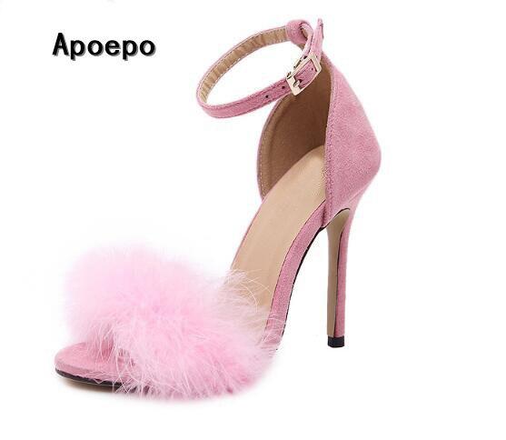 0565419c08 Venda quente de pele cor de rosa decorações sandália de salto alto 2017  sexy dedo do pé aberto tira no tornozelo sandália gladiador mulher bonita salto  fino ...