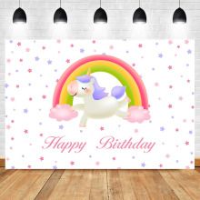 NeoBack Unicorn Birthday Party Photo Booth Backdrop Child Cartoon Rainbown Little Star photography background