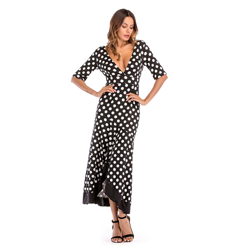 2018 Summer Long Dress Women Sexy Deep V-neck Dot Print Dresses Black Print Hem Folds Split Bohemian Maxi A-Line Beach Dress Hot