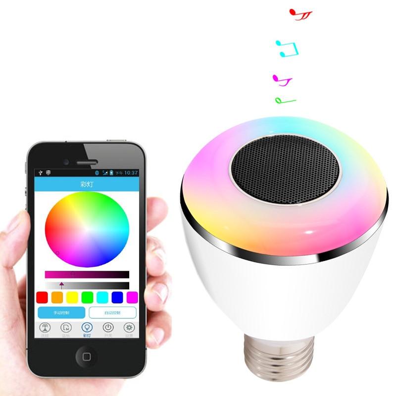 Bluetooth Högtalare Smart Dimmer LED Lampor Färg Ändra Belysning - Bärbar ljud och video