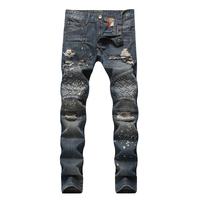 Męskie Dżinsy Zgrywanie Zniszczone Udzielenie Biker Moto Stożkowe Nogi Motocyklowe Kowbojskie Spodnie Skinny Slim Fit jeans Denim dorpshipping