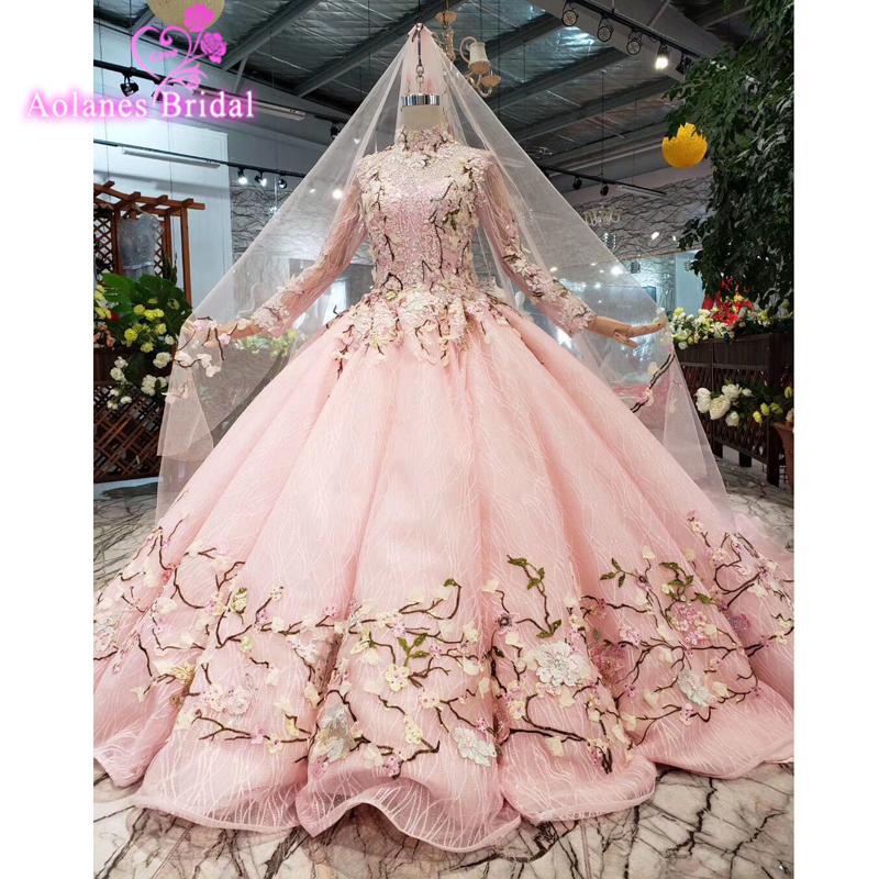 2019 New Arrival Real Blush Pink Wedding Dress With Colors Lace Up Back Elegant Sheer High Neck Applique Garden Bridal Gowns