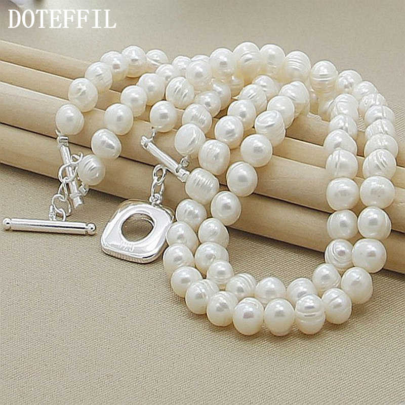 Double Pearl Necklace Two Layered Pearl Choker White Pearl Necklace Bead Necklaces For Women
