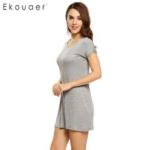 Ekouaer Cotton Nightgown Women Short Sleeve Letter Embroidery Nightdress Casual Sleepwear Sleep Lounge Dress Solid Home Dress