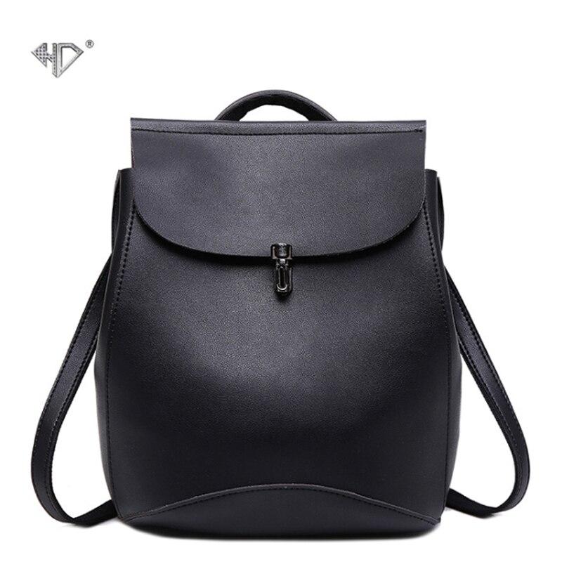 HD New Fashion Women Backpacks Shoulder Bag High Quality PU Leather Korean Style Female Backpack Teenagers