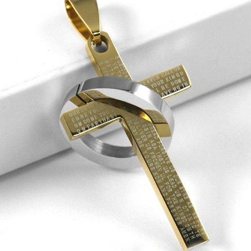 Christian jewelry stainless steel cross pendant necklace aloadofball