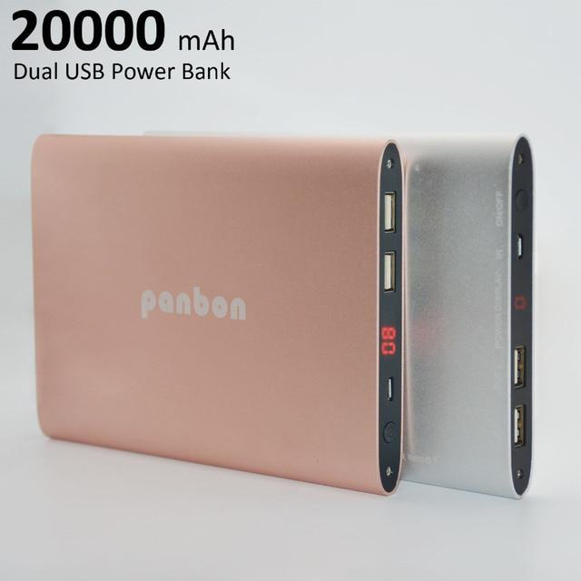 Original Panbon Portable Quick Charge 20000mAh Power Bank Dual USB Universal External Battery Charger for smart phones &Tablets
