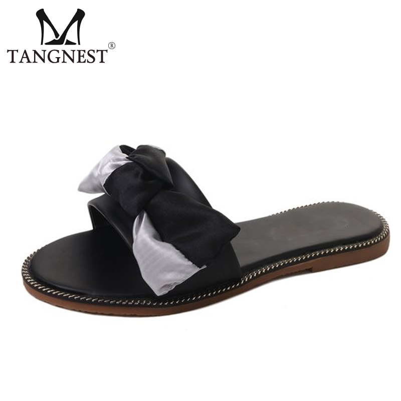 Tangnest Women Summer Sweet Style Slippers Fashion Butterfly-knot Flip Flops Non-Slip Flat Sandals Female Beach Slides XWT1148 zapatos mujer black red summer sweet bowtie flat sandals slip toe beach sandals butterfly knot flat sandals shoes plus size 44