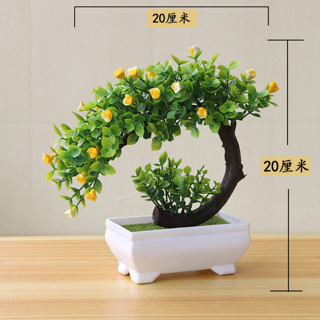 NEW Artificial Plants Bonsai Small Tree Pot Plants Fake Flowers Potted Ornaments For Home Decoration Hotel Garden Decor 6