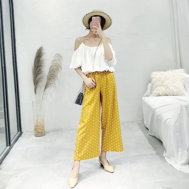 Свободные Для женщин широкие штаны Лето в горошек штаны свободного кроя Новый Fit Офис Для женщин 2018 Высокая Талия Эластичный Бант женские брюки