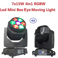 4xLot Discount Mini Bee Eye Led Moving Head Light Beam Wash Effect 7X15W RGBW 4IN1 LED Lamp Zoom Lens Endless Rotation