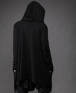 Image 4 - Men thin tính cách nghiêng dây kéo chiếc áo choàng trùm đầu hộp đêm đi đường hoodies mens gothic phong cách áo hip hop sweatshirt dài coat